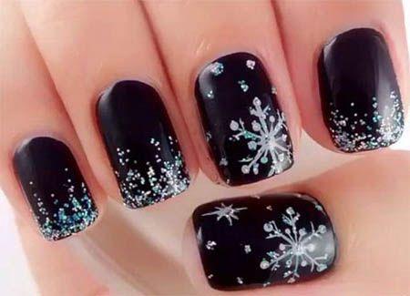 winternailscutedesignsblackwhite silver christmas